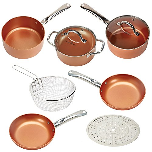 """Copper Chef 8/"""" Round Pan Ceramic Non Stick Cookware Kitchen Frying Grill Sautee."""
