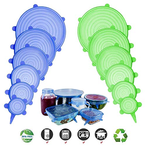 Adpartner Silicone Stretch Lids New Rectangle 6 Pack Of