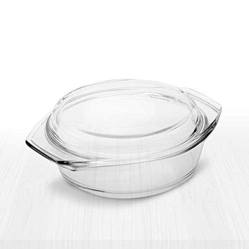 Simax Clear Round Glass Casserole With Lid Heat Cold